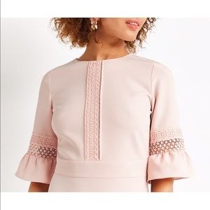 Pastel Pink Asos Oasis Lace Fluted Sleeves Dress